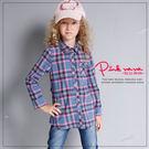 PINKNANA童裝 女童寶藍格紋襯衫3...