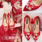 紅色結婚婚鞋女2019新款踩堂新娘鞋低跟高跟粗跟紅鞋平底秀禾單鞋 黛尼時尚精品