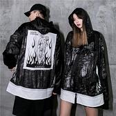 潮牌黑色連帽酷衛衣女潮流帥氣個性拼接街頭嘻哈帽衫情侶裝男外套  店慶降價