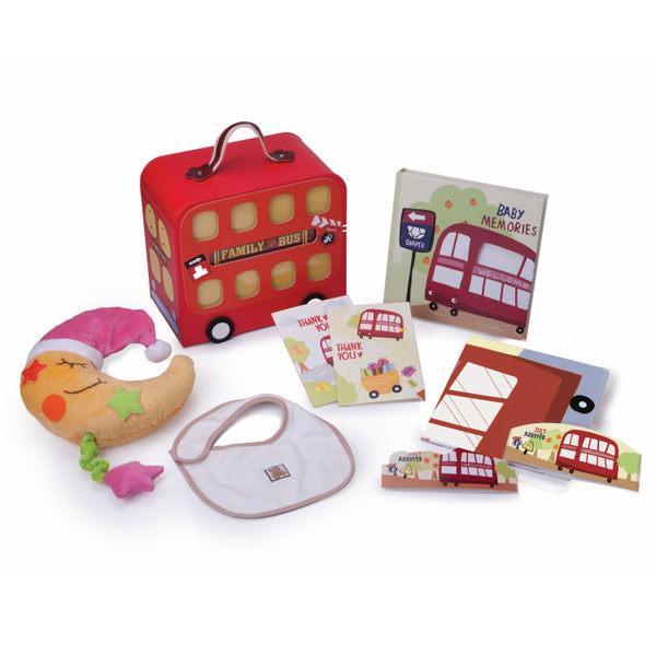 Gifthing 嬰兒成長紀錄禮品組-紅色公車