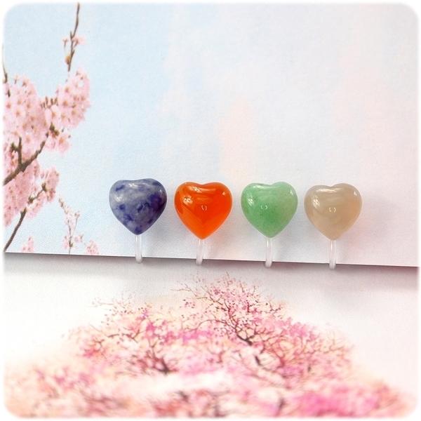 耳環 水晶寶石系列 - 心形 透明耳針/耳夾 (單只價) i917ღ