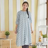 【Tiara Tiara】女神洋裝 水玉點點落肩5分袖長洋裝(水藍/灰)