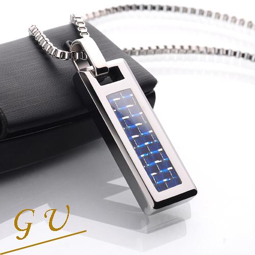 【GU】W40 男友生日禮物鎢鋼鍊鈦鋼鍊西德鋼 GresUnic Agloce 藍碳纖烏玄項鍊