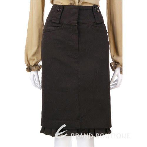 HACHE 深咖啡色荷葉滾邊及膝裙 0550095-07