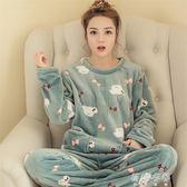 睡衣 韓版珊瑚絨睡衣女式可愛卡通休閒套頭法蘭絨長袖套裝家居服 蓓娜衣都