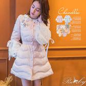 外套 蕾絲袖縮腰鋪棉保暖外套-Ruby s 露比午茶