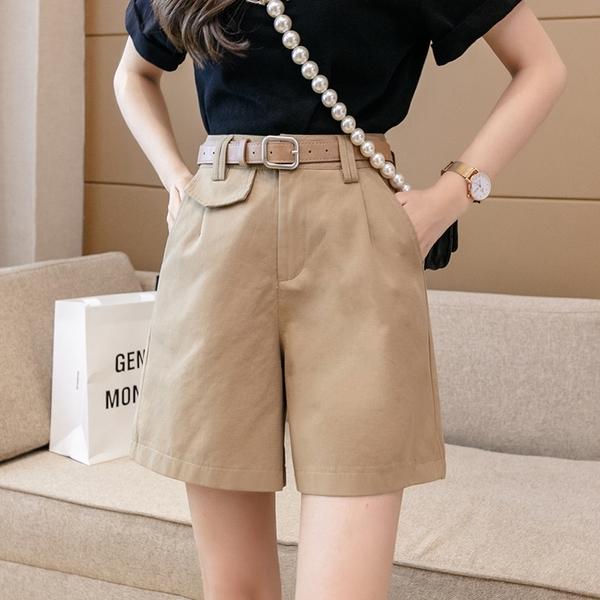 VK精品服飾 韓國風休閒百搭工裝褲高腰A字短褲腰帶單品短褲