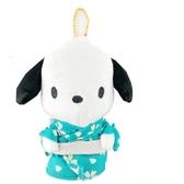 小禮堂 帕恰狗 絨毛吊飾 娃娃 布偶 玩具 吊飾 掛飾 鑰匙圈 鎖圈 (綠 和服) 4548643-14451
