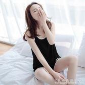女款莫代爾夏裝薄款夏天大碼背心短褲睡衣女無袖套裝兩件套夏 水晶鞋坊