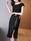 洋裝`純色醋酸緞面連身裙夏季連袖圓領中長款高腰開叉a字裙女H456-C胖妞衣櫥