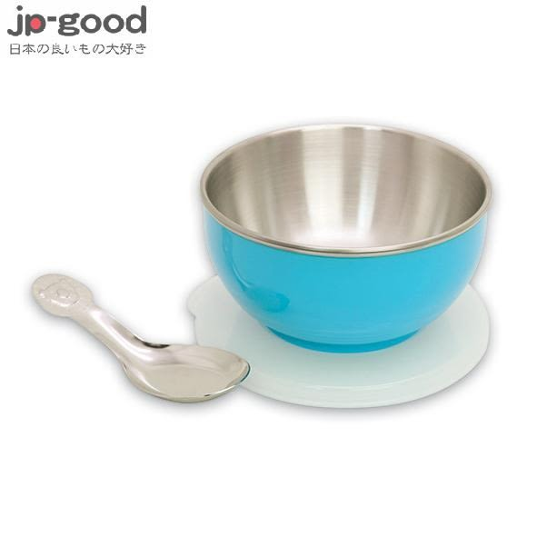 genki bebi 元氣寶寶 彩色不鏽鋼隔熱寶寶碗(附蓋+湯匙) - 藍色