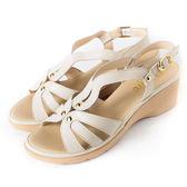 DeSire 百搭素面楔型涼鞋  -白
