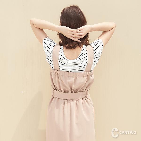 CANTWO夏日細條連肩袖短T-共兩色