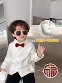 嬰童裝兒童加絨襯衣男童白色襯衫百搭小寶寶保暖翻領