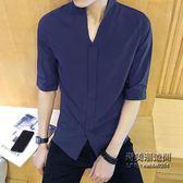正韓修身男士純色立領中袖襯衫男生時尚潮流休閒百搭短袖襯衣