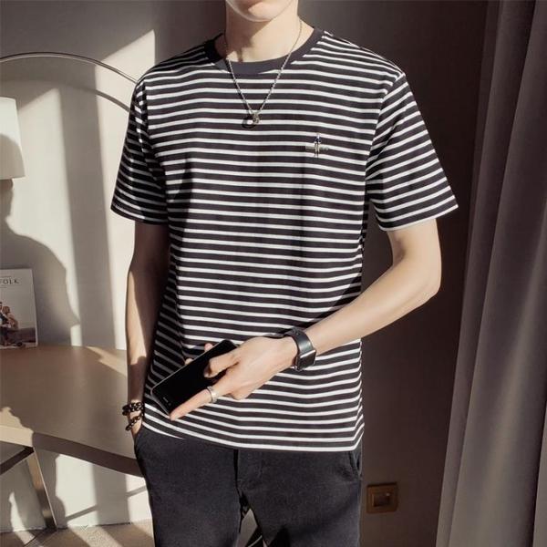 短袖t恤男士夏季韓版潮流條紋上衣純棉男生體恤衣服2021新款夏裝 黛尼時尚精品