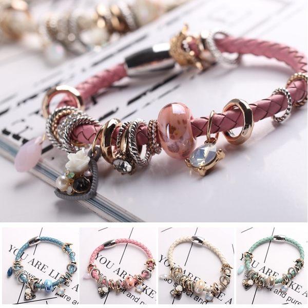 潘朵拉風格華麗薔薇皇冠皮繩磁扣串珠 手鍊