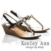 ★2017春夏★Keeley Ann閃耀時刻~太陽花朵芒刺鑲鑽全真皮楔形T字夾腳涼鞋(黑色)