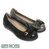 U29-21683 女款全真皮娃娃鞋  立體扭轉蝴蝶結蜜蜂金屬裝飾全真皮小坡跟束口娃娃鞋【GREEN PHOENIX】