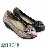 U73-20314 女款全真皮娃娃鞋  扭轉蝴蝶結立體串珠束口帶全真皮楔型娃娃鞋【GREEN PHOENIX】