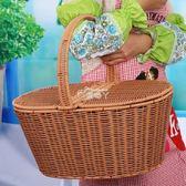 野餐籃 大號塑料藤編清潔籃 酒店PA保潔籃 子 購物提籃 物業工具籃 俏腳丫