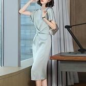 洋裝`醋酸連身裙女夏裝新款溫柔風V領收腰顯瘦a字裙氣質名媛時尚裙H456-C胖妞衣櫥