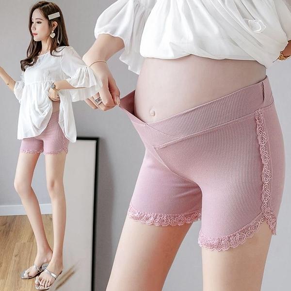 漂亮小媽咪 孕婦 低腰 安全褲 【L8316】 低腰 蕾絲 坑條 超彈力 孕婦安全褲 孕婦打底褲 防走光