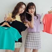 MIUSTAR 圓領素面短版棉質上衣(共6色)【NH1579】預購