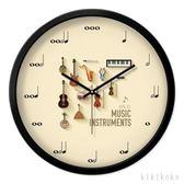 掛鐘 摩門創意樂器掛鐘藝術培訓中心靜音無聲時鐘音樂教室琴行壁掛鐘表  XY9826【KIKIKOKO】TW