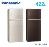 【佳麗寶】-留言加碼折扣(Panasonic國際牌)422公升無邊框玻璃雙門冰箱 NR-B421TG