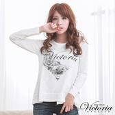 Victoria 愛心薔薇印染上衣-白-V25129