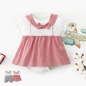 夏季格紋蝴蝶結短袖包屁衣 寶寶服 哈衣 連身衣 童裝