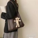 包包女大容量包包2021新款潮時尚托特包學生上課單肩包百搭斜背包側背包