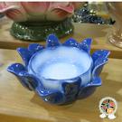精緻藍瓷蓮座(發展 事業順利) + 平安加持小佛卡【十方佛教文物】