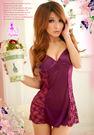 睡衣 性感睡衣 星光密碼【J031】柔緞緹花網紗紫色二件式情趣性感睡衣