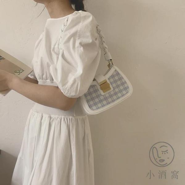 側背包質感包包腋下包女格子包百搭包【小酒窩服飾】