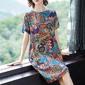 洋裝 大碼女裝新款碎花連衣裙中老年媽媽裝闊太太胖mm顯瘦減齡春夏裝潮 風尚3C