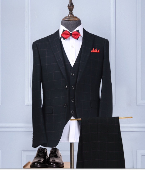 (45 Design) 7天到貨韓版黑色窄版 /婚紗休閒款正式裝/ 成套西裝外套+褲