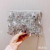 時尚宴會手拿包 夏天小包包女2019新款少女珍珠亮片手提斜挎包韓版JA7350『科炫3C』