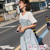 洋裝 韓版圓領拼接假兩件繫帶開岔連身裙★東京戀人MS.Q★7191
