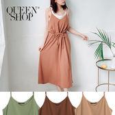 Queen Shop【01084572】腰抽繩設計細肩帶洋裝 三色售*現+預*