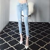2020年夏季新款破洞彈力緊身乞丐牛仔褲高腰鉛筆薄款小腳褲女