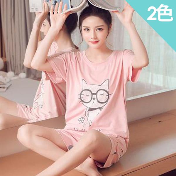 眼鏡貓棉質居家衣褲組(2色)