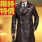 真皮風衣-流行保暖明星同款自信長版男皮衣大衣2款62x18【巴黎精品】