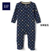 Gap男嬰兒 舒適連腳一件式長袖包屁衣 229896-海軍藍色