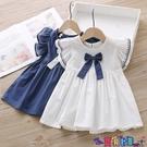 兒童連身裙 女童連身裙夏裝新款中小童可愛蝴蝶結A字裙兒童刺繡短袖裙子 618狂歡