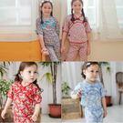 中國風短袖套裝 碎花 古裝 造型服 女童 中大童 上衣 褲子 Augelute 52227