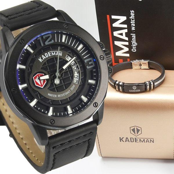 KADEMAN 格紋酷帥粗曠型男手錶 套錶 真皮男錶 日期視窗 防水手錶 贈手環*1 K6166黑【時間玩家】