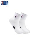 NBA 平版襪 MIT 運動配件 LogoMan刺繡短襪 (白)