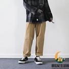 中性風休閒褲基礎款素色簡約男女同款直筒工裝褲【創世紀生活館】